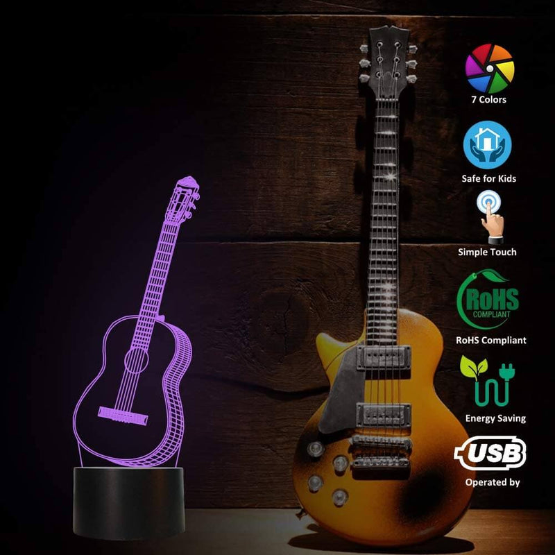 Guitar 3D Colorful Lamp
