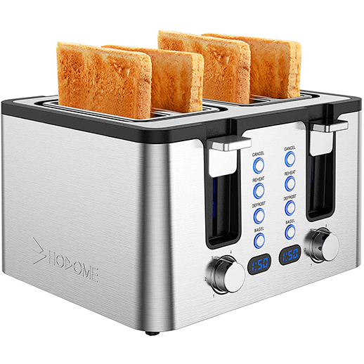 Hosome Stainless Steel Bread Bagel Toaster with Warming Rack