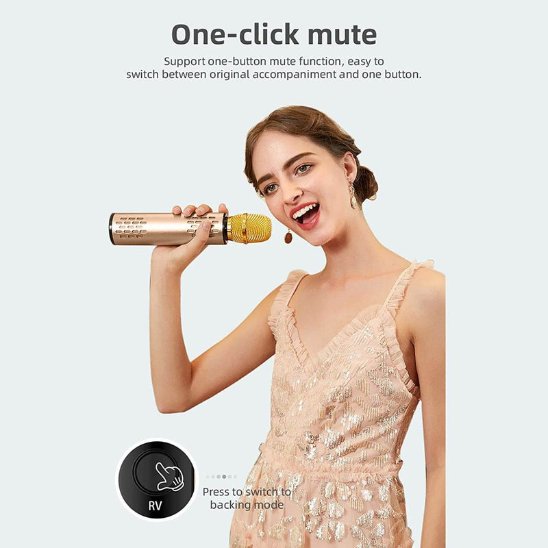 Karaoke Wireless Bluetooth Microphone Golden