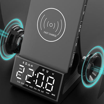 Wireless Alarm Clock Speaker Phone Holder Bluetooth 5.0