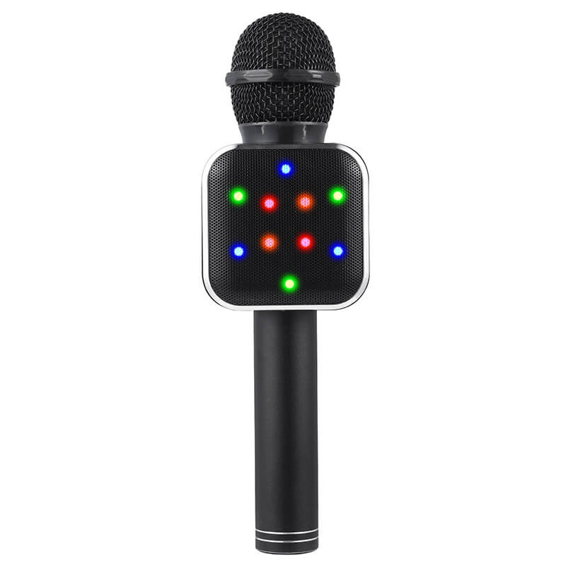 Wireless-LED-Bluetooth-Karaoke-Microphone-Black