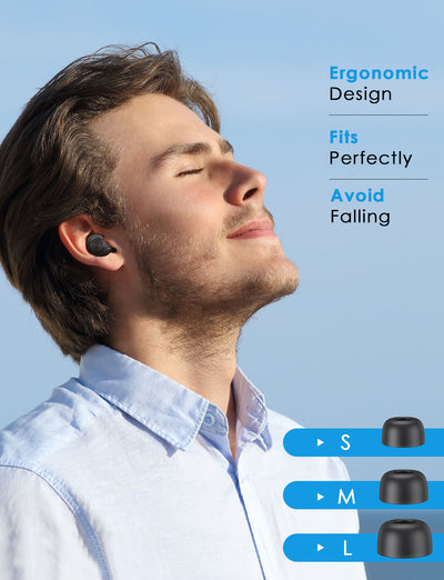 man listening to music with wireless earphone
