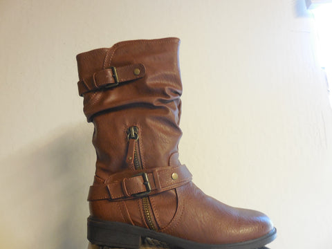 Report Footwear Moto inspired Matt Boots in Dark Tan (Brown) Vegan Leather
