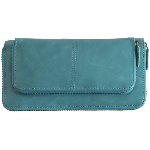 Shiraleah Harper Vegan Zip Wallet in Bold Aqua Color