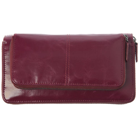Shiraleah Harper Vegan Zip Wallet in Bold Berry Color