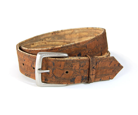 "Reversible Cork Belt in Tiger Tan and Tiger Brown. Vegan Belt. Made from sustainably harvested Cork tree bark. Size 32""."