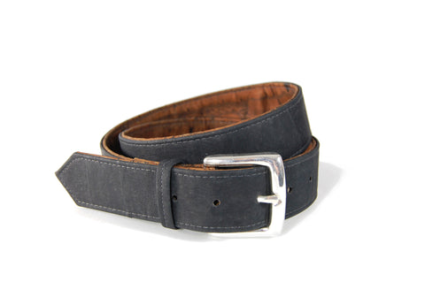 "Reversible Cork Belt in Black and Tiger Brown. Vegan Belt. Made from sustainably harvested Cork tree bark. Size 32""."