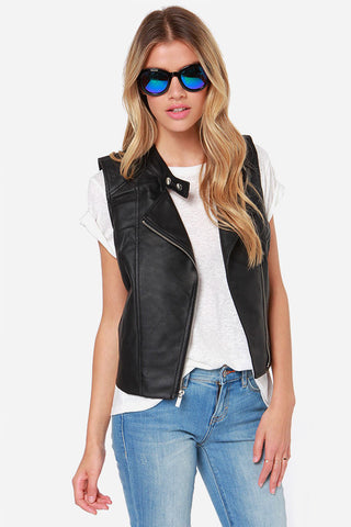 BB Dakota Reeves Sleeveless Vegan Leather Moto Vest