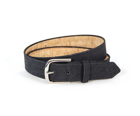 "Black Cork Belt. Vegan Belt. Made from sustainably harvested Cork tree bark. Size 34""."