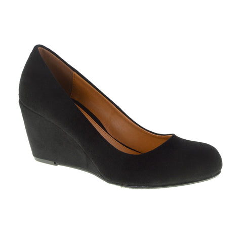 Nima Bolero Wedge Shoes - CL by Laundry - Black VEGAN Super Suede