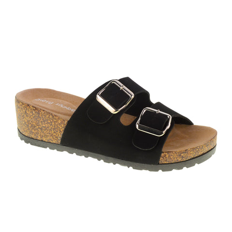 Tai Chi Footbed Sandal. Dual Strap in Black Faux Vegan Suede by Dirty Laundry. Size 6