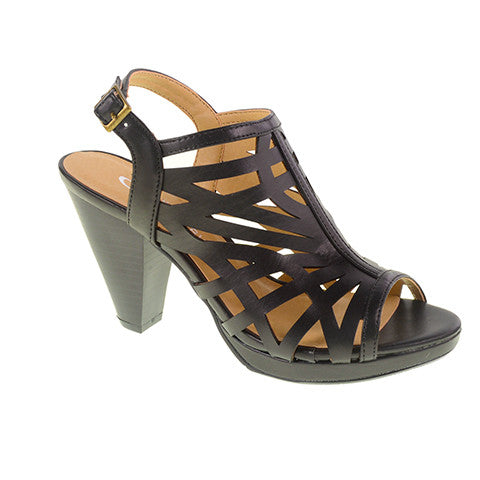 Wishing Well Laser Cut Platform Sandal by CL. Caged Slingback Heel in Black Vegan Leather. Size 7