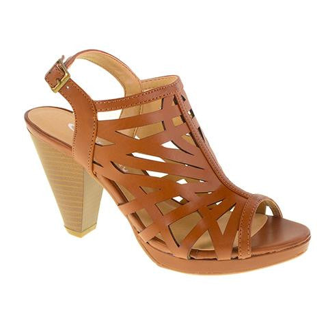 Wishing Well Laser Cut Platform Sandal by CL. Caged Slingback Heel in Rich Brown Vegan Leather. Size 7.5