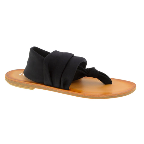 Beebop - Flat Sandal - Stretchy VEGAN Fabric -Style: Solid Black -Size: 6.5