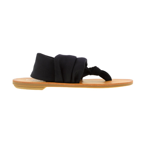 Beebop - Flat Sandal - Stretchy VEGAN Fabric -Style: Solid Black -Size: 9.5