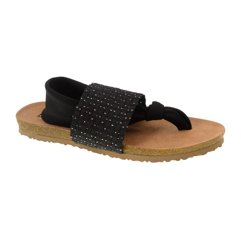 Juggernaut Lycra Footbed Sandal. Stretchy Thong Vegan Sandal in Black. By Dirty Laundry. Size 9