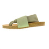 Juggernaut Lycra Footbed Sandal. Stretchy Thong Vegan Sandal in Sage Green. By Dirty Laundry. Size 6