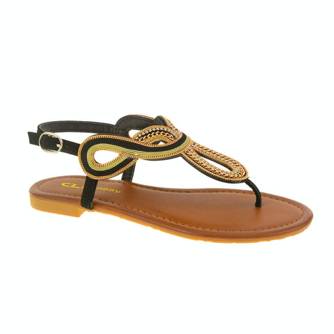 Nessa Thong Sandal. Chain Detailed Flat Sandal by CL by Laundry. Vegan. Black. Size 6