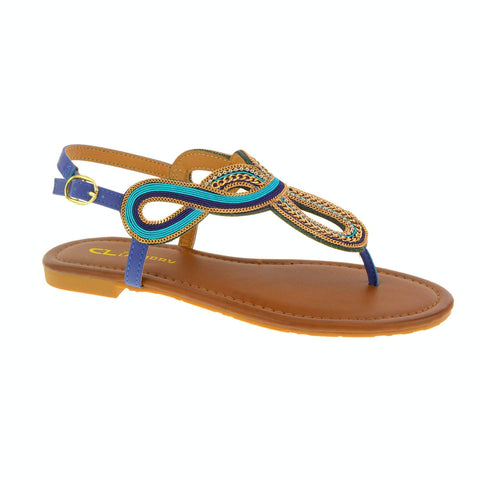 Nessa Thong Sandal. Chain Detailed Flat Sandal by CL by Laundry. Vegan. Blue. Size 6