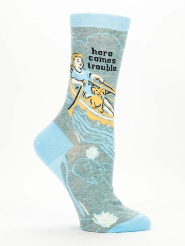 Blue Q VEGAN Women's Crew Socks (Here Comes Trouble)