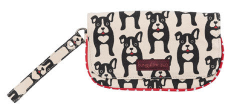 Black Dog Bungalow360 Vegan Wristlet in Natural Cotton (Boston Terrier)