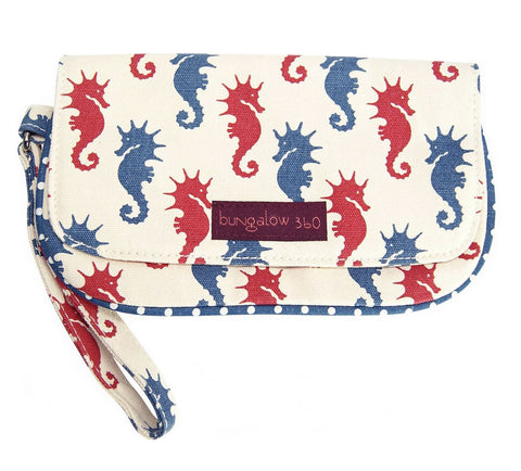 Bungalow360 VEGAN Cotton Canvas Clutch (Seahorses) 51118-SE