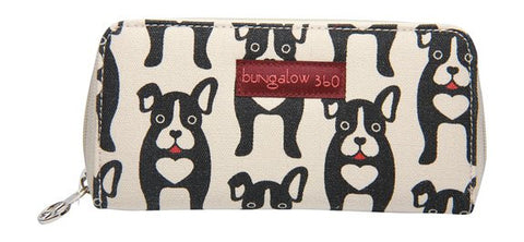 Bungalow360 Vegan Zip Around Wallet (Black Dog)