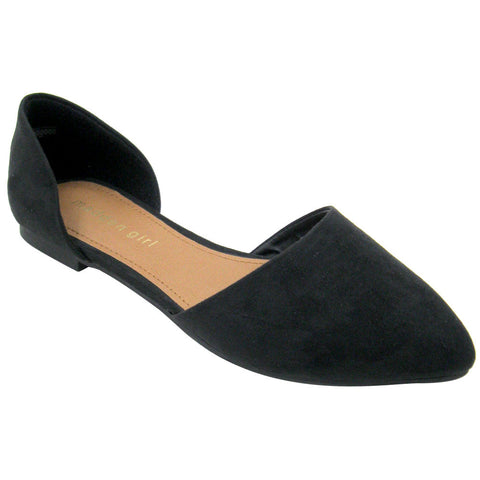 Madden Girl Briistol Vegan Pointy Flats (black, clearance) 6