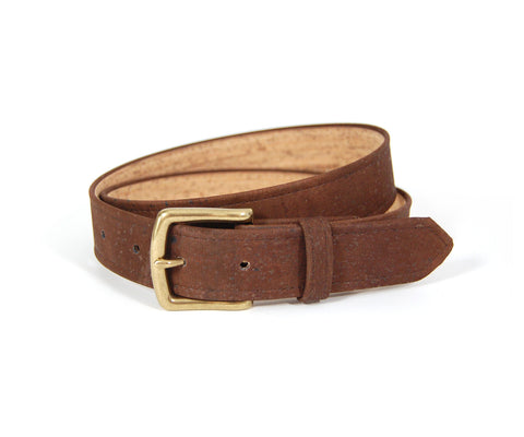 "Brown Cork Belt. Vegan Belt. Made from sustainably harvested Cork tree bark. Size 32""."