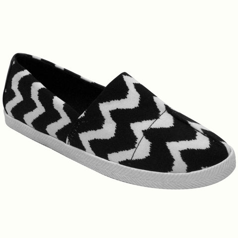 Dirty Laundry Barracuda Zig Zag Vegan Slip Ons (black-white)