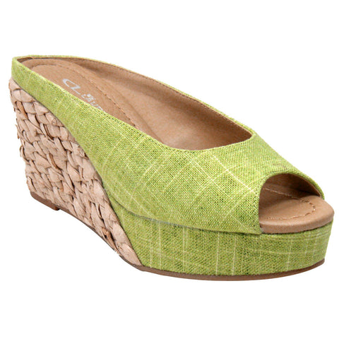 CL By Laundry Daysie Vegan Wedge Sandals (lime)