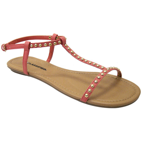 City Classified Delva-S Gold Studded Vegan Gladiator Sandals (salmon PU)