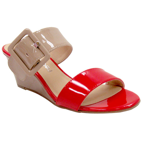 Dirty Laundry Tonya Patent Vegan Sandals (red-beige)