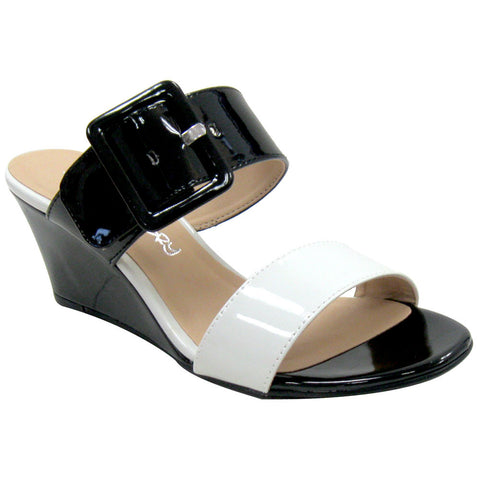 Dirty Laundry Tonya Patent Vegan Sandals (black-white)