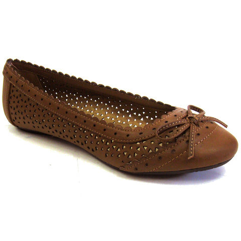 City Classified Perforated Vegan Flat Shoes Double-S (tan, clearance) Size 6.5