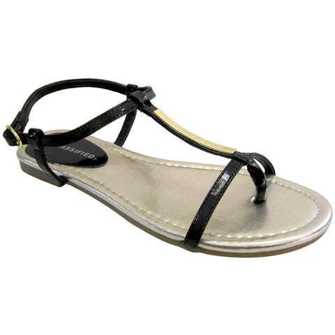 Gladiator VEGAN Sandals - City Classified - Eating-S (black patent & gold)