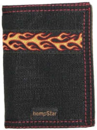 HEMPSTAR MEN'S BLACK VEGAN WALLET, FIRE, 100% HEMP