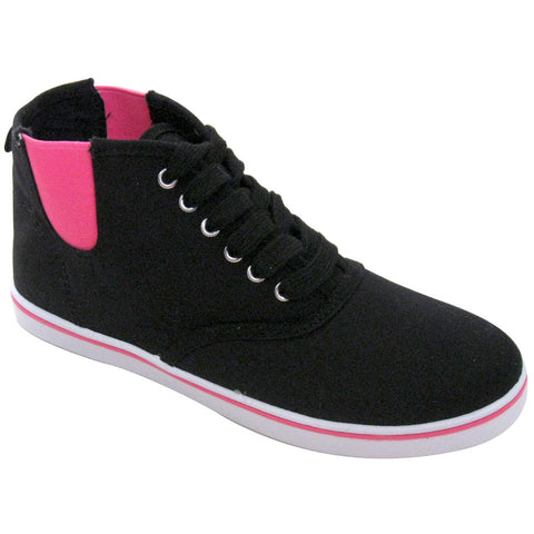 Qupid - Women's VEGAN Canvas High-Top Sneakers (black & hot-pink)