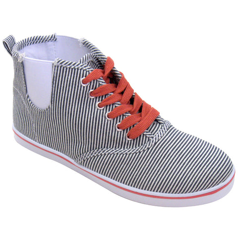 Qupid - Women's Canvas VEGAN High-Top Sneakers (navy & white striped)
