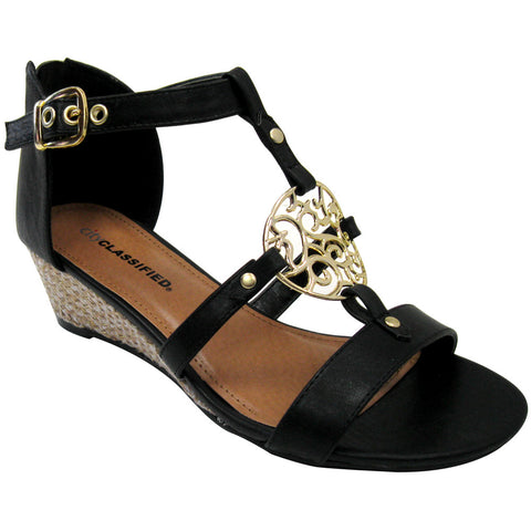 City Classified Lucas-S Medallion Vegan Wedge Sandals (black)