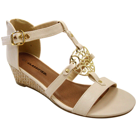 City Classified Lucas-S Medallion Vegan Wedge Sandals (off white)