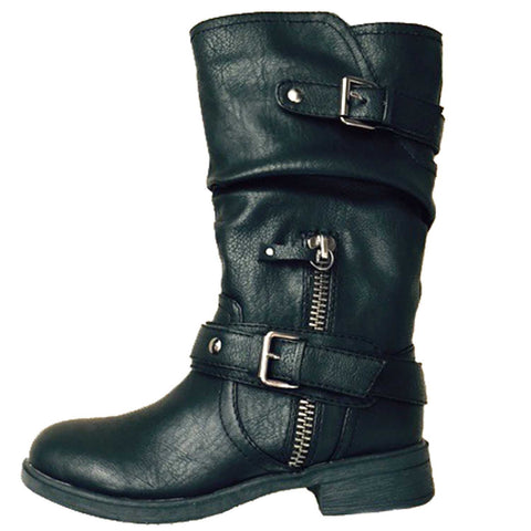 Report Footwear Moto inspired Matt Boots in Black Vegan Leather