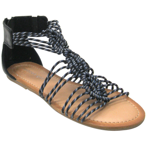 Madden Girl Knots Vegan Gladiator Sandals (black)