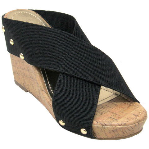 Madden Girl Nautic Vegan Wedge Sandals (black)