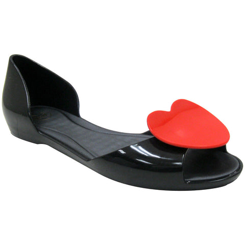 Mel Fresh IV Vegan Flats (black-red) Size 7