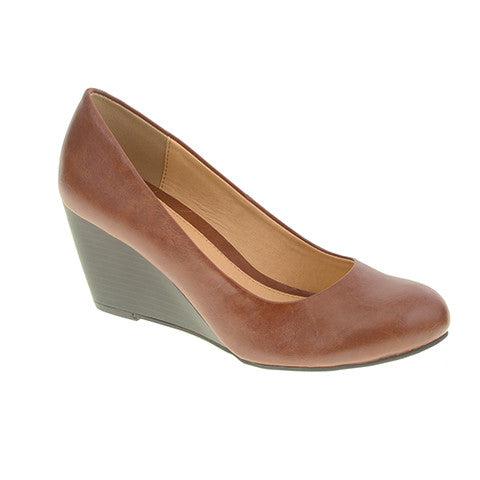 CL by Laundry Nima Bolero Wedge Shoes in Cognac Vegan Leather
