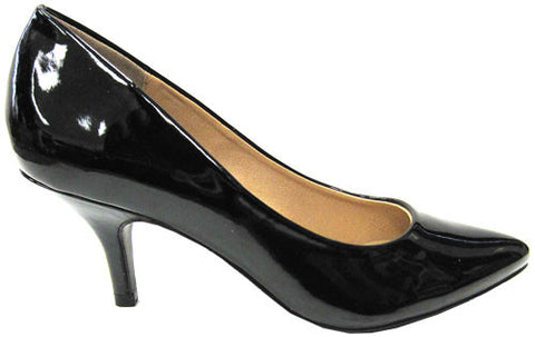 City Classified Orane-H Faux Patent Pointy Toe Heel (black, size 10)