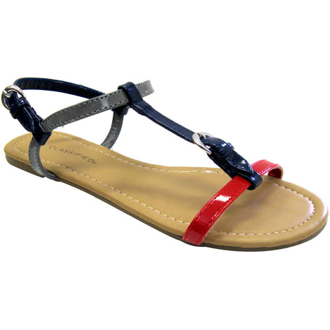 City Classified Pot-S Patent Vegan Sandals (red multi)
