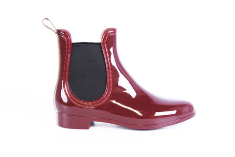 Report Footwear Rain Slicker Vegan Bootie in Burgundy Red