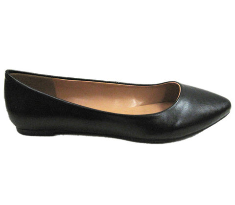 City Classified Sadler-S Pointy Vegan Ballerina Flats (black)
